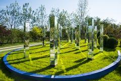 L'Asia Cina, Wuqing Tientsin, Expo verde, paesaggio, colonna quadrata dello specchio Fotografia Stock Libera da Diritti