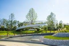 L'Asia Cina, Wuqing Tientsin, Expo verde, piattaforma circolare di osservazione Immagini Stock Libere da Diritti