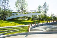 L'Asia Cina, Wuqing Tientsin, Expo verde, piattaforma circolare di osservazione Fotografie Stock