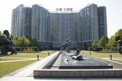 L'Asia e cinese, Pechino, arte del giardino di Tiantong, scultura piega, Immagini Stock