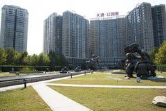 L'Asia e cinese, Pechino, arte del giardino di Tiantong, scultura piega, Immagine Stock