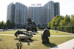 L'Asia e cinese, Pechino, arte del giardino di Tiantong, scultura piega, Immagini Stock Libere da Diritti