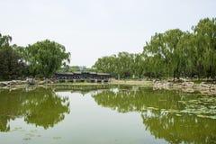 L'Asia parco di Cina, Pechino, lago Longtan, vista del paesaggio di estate, lago, il corridoio lungo Fotografia Stock Libera da Diritti