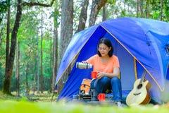 L'Asia viaggia tende di campeggio di diffusione nella foresta fotografia stock