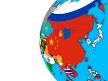 L'Asie avec des drapeaux sur le globe 3D illustration libre de droits