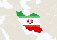 L'Asie avec la carte accentuée de l'Iran illustration de vecteur