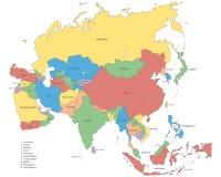 L'Asie - carte politique de l'Asie illustration stock