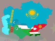 L'Asie centrale avec des drapeaux sur la carte illustration de vecteur