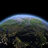 L'Asie centrale de l'espace à l'aube illustration libre de droits
