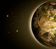 L'Asie centrale de l'espace à l'aube illustration de vecteur