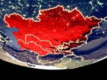 L'Asie centrale la nuit de l'espace illustration stock