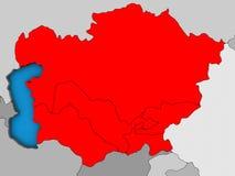 L'Asie centrale sur la carte 3D illustration de vecteur