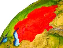 L'Asie centrale sur terre 3D illustration stock