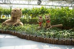 L'Asie Chine, Pékin, carnaval agricole, architecture moderne, secteur d'exposition d'intérieur, paysage de ŒCartoon de ¼ de scene image libre de droits