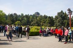 L'Asie Chine, Pékin, parc de colline de Jingshan, festival de ŒPeony de ¼ de landscapeï de jardin de ressort Images stock