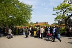 L'Asie Chine, Pékin, parc de colline de Jingshan, festival de ŒPeony de ¼ de landscapeï de jardin de ressort Photographie stock