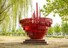L'Asie Chine, Pékin, parc de palais de Sun, sculpture en paysage, environnement de population Photo libre de droits