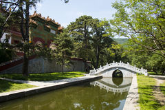 L'Asie Chine, Pékin, parc parfumé de colline, Zhao Temple, le ¼ en pierre Œthe de bridgeï a glacé l'arcade Image stock