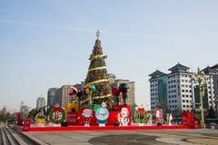 L'Asie Chine, Pékin, plaza orientale, décorations de Noël Images stock