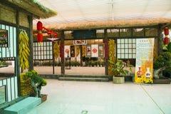 L'Asie, Chine, Pékin, shunyi fleurit, met en communication, hall d'exposition d'intérieur, ferme en bois Images libres de droits
