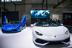 L'Asie Chine, Pékin, exposition internationale de l'automobile 2016, hall d'exposition d'intérieur, voiture de sport, lamborghini Photos stock
