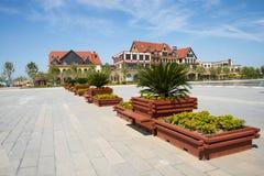 L'Asie Chine, Wuqing, Tianjin, expo verte, bâtiment de jardin, pots de fleur carrés Photo stock