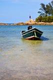 L'Asie dans la baie le bateau taxy blanc d'île phangan de KOH photos libres de droits