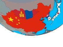 L'Asie de l'Est avec des drapeaux sur le globe illustration de vecteur