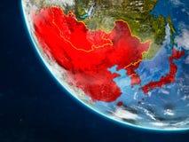 L'Asie de l'Est de l'espace sur terre illustration de vecteur