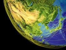 L'Asie de l'Est de l'espace sur terre illustration libre de droits