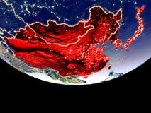 L'Asie de l'Est la nuit de l'espace illustration stock