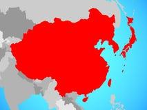 L'Asie de l'Est sur la carte illustration libre de droits