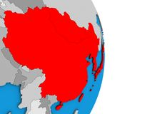 L'Asie de l'Est sur le globe 3D illustration stock