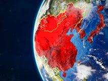L'Asie de l'Est sur le globe de l'espace illustration stock