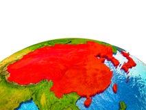L'Asie de l'Est sur terre 3D illustration stock