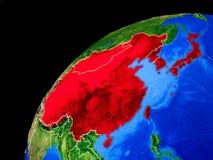 L'Asie de l'Est sur terre de l'espace illustration de vecteur