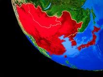 L'Asie de l'Est sur terre de l'espace illustration stock