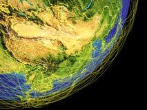 L'Asie de l'Est sur terre de l'espace illustration libre de droits