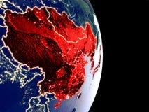 L'Asie de l'Est sur terre de nuit illustration libre de droits
