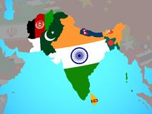 L'Asie du sud avec des drapeaux sur la carte illustration de vecteur