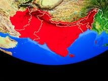 L'Asie du sud de l'espace sur terre illustration stock