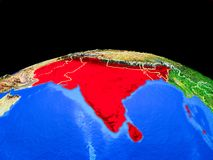L'Asie du sud de l'espace sur terre illustration libre de droits