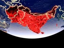 L'Asie du sud la nuit de l'espace illustration stock