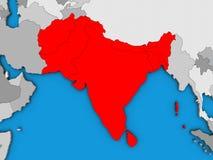 L'Asie du sud sur la carte 3D illustration de vecteur