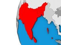 L'Asie du sud sur le globe 3D illustration stock