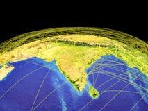 L'Asie du sud sur terre de l'espace illustration de vecteur