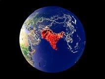 L'Asie du sud sur terre de l'espace illustration libre de droits