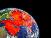 L'Asie en rouge de l'espace illustration stock
