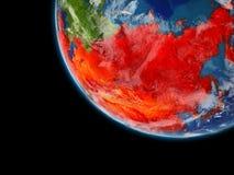 L'Asie en rouge de l'espace sur terre illustration de vecteur
