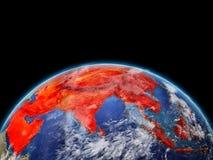 L'Asie en rouge sur terre illustration de vecteur